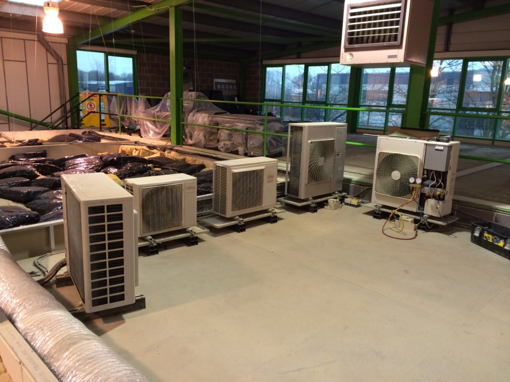 Air Conditioning condensers on roof area