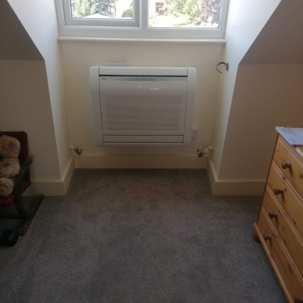 Floor mounted Fujitsu Air conditioning system bedroom