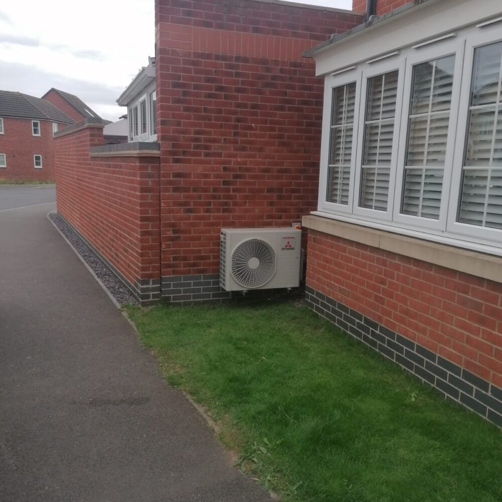 Outdoor Condenser Mitsubishi AC system bedroom